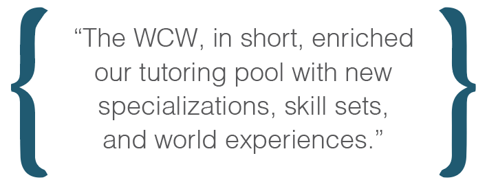 Text box: The WCW, in short, enriched our tutoring pool with new specializations, skill sets, and world experiences.